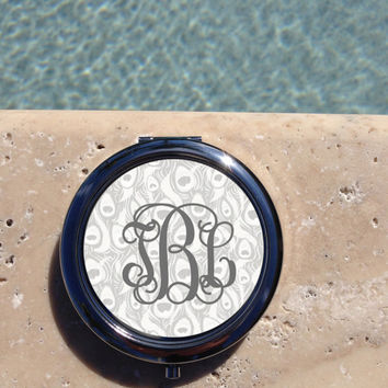 Silver Peacock Feather Monogram compact mirror,Personalized,Custom,mirror,Compact Mirror,Bridesmaid Gift,Wedding party gift,Gifts for her,#8