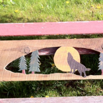 Coat Rack, Rustic Reclaimed Barn Wood, Howling Coyote and Moon lodge home decor