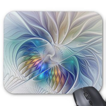 Floral Fantasy, Colorful Abstract Fractal Flower Mouse Pad