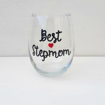 Best StepMom hand painted stemless wine glass