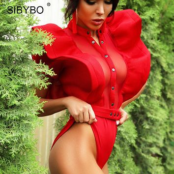 Sibybo Black Ruffles Bodysuit Women  Summer Hollow Out Combinaison Rompers Femme Sexy Short Mesh Bodycon Overalls