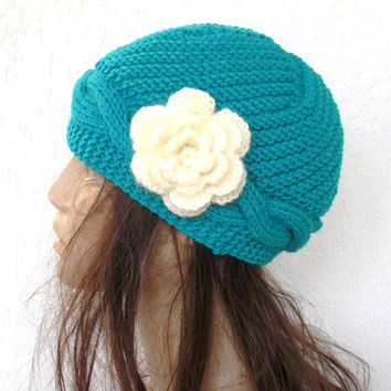Hand Knit  hat- Womens Hat - Slouch  Beanie- Victorian  Hat   -Winter Accessories Hat Autumn  Turquoise blue hat Fashion