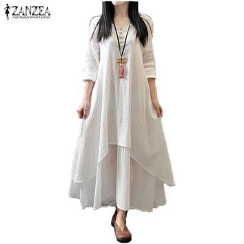 Zanzea Spring Autumn 2018 Fashion Women Casual Loose Long Sleeve V-Neck Dress Boho Solid Long Maxi Dress Vestidos Plus Size 5XL