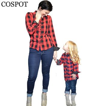 COSPOT Mom and Girls Red Plaid Christmas Shirt Mother and Daughter Cotton Matching Blouse Family Fashion Spring Top Tee 2017 28F
