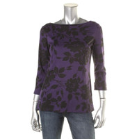 Karen Scott Womens Printed 3/4 Cuff Sleeves Pullover Top