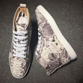 DCCK Cl Christian Louboutin Python Style #2278 Sneakers Fashion Shoes