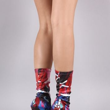 Liliana Abstract Print Elastane Pointy Toe Stiletto Boots