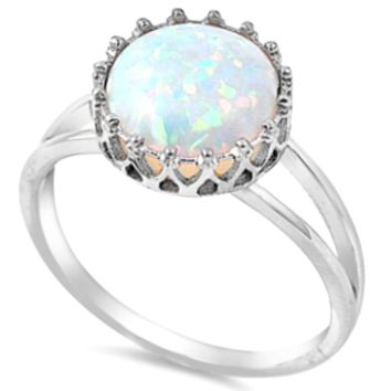 .925 Sterling Silver White Fire Opal Crown Ladies Ring Size 4-12 Tiara Princess Solitaire