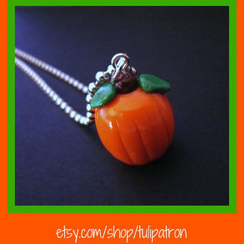 Pumpkin Patch Necklace - Halloween - Fall - Autumn - Harvest - Polymer Clay
