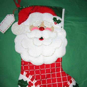 "Finished bucilla christmas stocking felt, 18"" completed happy santa 84819 kit"
