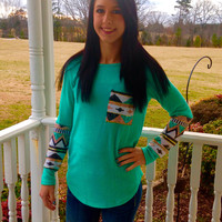 Mint long sleeve and pocket sweater