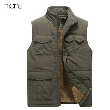 MANLI Brand Clothing Men Vest Multi-pockets Vest Male Outerwear Stand Collar Mens Warm Fleece Waistcoat Hiking Vests Size 5XL