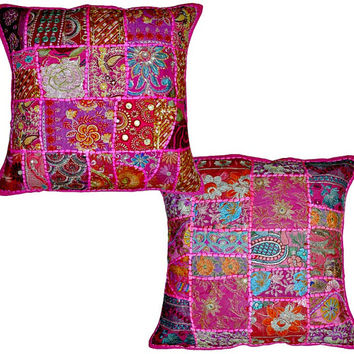 2pc Pink wholesale set Decorative Tribal accent throw pillow, Patchwork Indian cottage Pillow, floor pillow outdoors decorative throw pillow