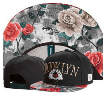 Cayler & Sons Brooklyn Mickey Mouse Jay Z HOV Hands Floral Print Design Black Baseball Cap Snapback Hat