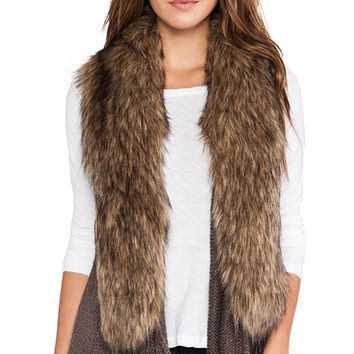 BB Dakota Lida Sweater Vest with Faux Fur Trim in Brown