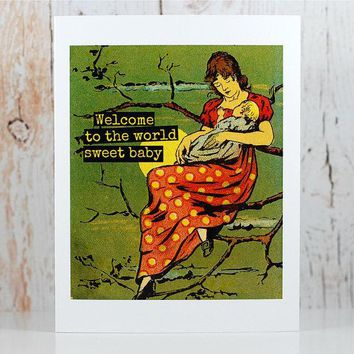 Welcome to the World Sweet Baby Funny Vintage Style New Baby Congratulations Card Pregnancy Card Baby Shower Card FREE SHIPPING