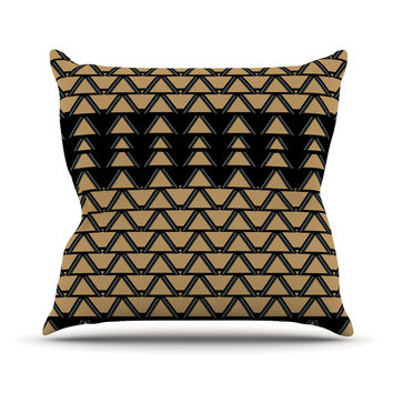 "Nina May ""Deco Angles Gold Black"" Outdoor Throw Pillow"