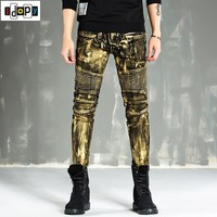 Fashion Painted Mens Ripped Biker Jeans Pants Skinny Retro Pleated Hip Hop Motorcycle Denim Joggers Male Pants For Men