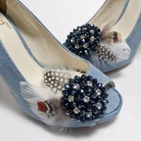 SOMETHiNG BLUECrystal feather shoe clips by finkshop on Etsy