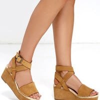 Kensie Teal Cognac Nubuck Leather Platform Wedges
