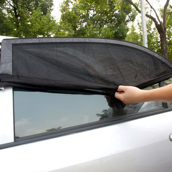 Professional Adjustable Auto Car Side Rear Window Sun Shade Black Mesh Car Cover Visor Shield Sunshade UV Protection Size L