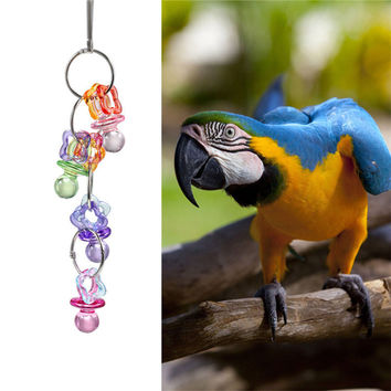 Candy color peck chewing parrot toys nontoxic hanging cage accessory Parakeets Cockatiels and Lovebirds toy free shipping