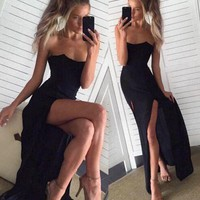 Strapless Black Prom Dress, Black Evening Dresses