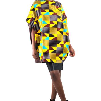 African Print Shift Asymetric Top- Teal Blue/Yellow/Brown Kente Primt