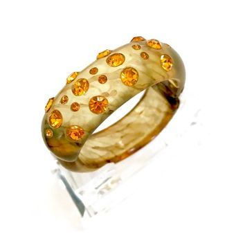 Apple Juice Thermoplastic & Amber Rhinestone Bangle, Hinged Clamper Bangle Bracelet, Amber Crystals, Mid-Century, Vintage Gift for Her