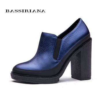 BASSIRIANA Women's Pumps New 2017 Women's Spring Shoes High Heels  Thick Heel Platform Shoes Black Blue High-Heeled Shoes