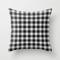 Sleepy Black and White Plaid Throw Pillow by RichCaspian