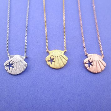 Scallop Seashells with Starfish Cut Out Shaped Pendant Necklace