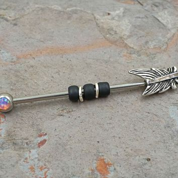 Pink Opal Feather Industrial Barbell