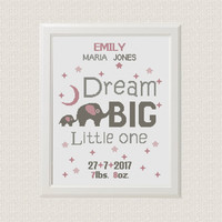 elephants Birth announcement cross stitch pattern Dream big little one baby sampler new baby girl birthday Jungle Nursery decor wall art