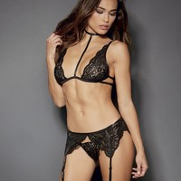 Collared Lace Bra Set