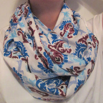 White & Blue with Brown Patterned, Cloth, Handmade, Infinity Scarf.