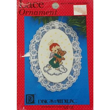 Angel with Teddy Bear Lace Ornament - Counted Cross Stitch Kit