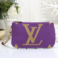 LV Louis Vuitton Popular Women Tote Clutch Bag Zipper Wallet Purple