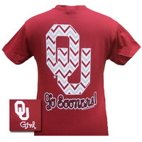 New Oklahoma Boomer Sooners Chevron OU Logo Girlie Bright T Shirt