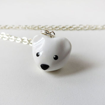 Cute White Polar Bear Pendant Necklace Polymer Clay Animal Jewelry