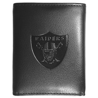 Oakland Raiders Tri Fold Leather Wallet