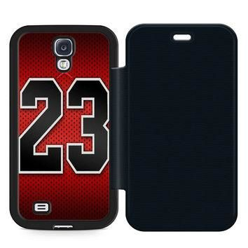 Michael Jordan 23 Leather Wallet Flip Case Samsung Galaxy S4