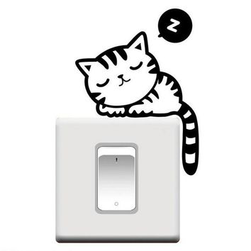 Hot Sale Cute Sleep Cats Switch Sticks Room Window Wall Decorating Switch Vinyl Decal Sticker Decor Lovely Cartoon Stickers