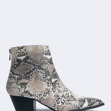 Snake Pointed Toe Booties