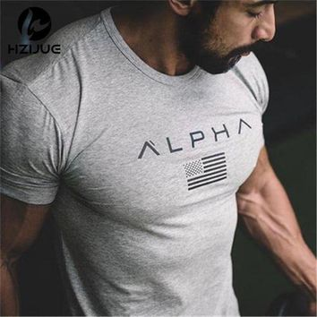 PEAPFS2 HZIJUE 2017 New Brand clothing Gyms Tight t-shirt mens fitness t-shirt homme Gyms t shirt men fitness crossfit Summer top