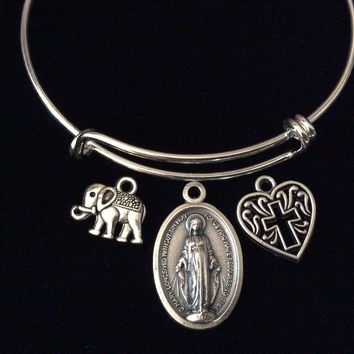 Miraculous Medal Virgin Mary Elephant and Filigree Heart Cross Silver Expandable Charm Bracelet Double Sided Adjustable Bangle