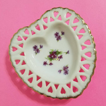 Lefton China Heart Dish Violets Floral Gold Trimmed Trinket Box