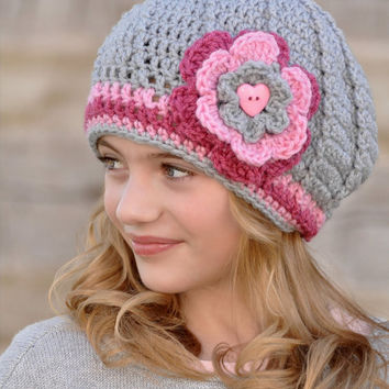 Crochet hat for Tween Girls Pink and Grey Gray Slouchy Hat with Flower and Heart