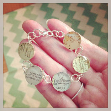 Something Old, Something New Vintage Map Charm Bracelet You Select any 5 Places in the World