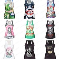 Gym Sports Yoga shirts Fitness Tank Tops Women Sleeveless Smiling Print Vest Workout Sports High Elastic Camisole